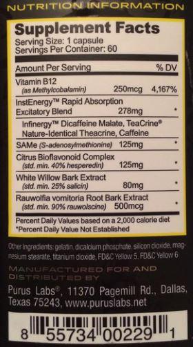 THEATRIM PURUS LABS composição tabela nutricional