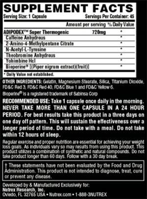 adipodex nutrex tabela nutricional
